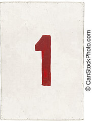number one on white plywood board