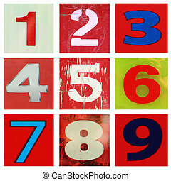 Number one ot nine - Collection of different colors and...