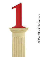 Number one over classic column isolated on white - rendering