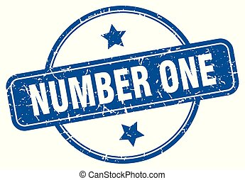 number one round grunge isolated stamp