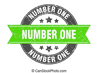number one round stamp with green ribbon. number one