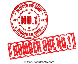 Number one - Set of grunge rubber stamps with text number...