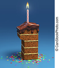 number one shaped birthday cake with candle