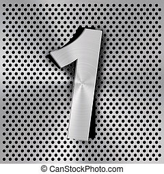Number One on Metal background texture