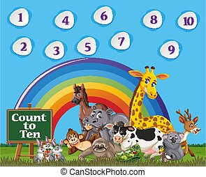 Number one to ten with blue sky and colorful rainbow background