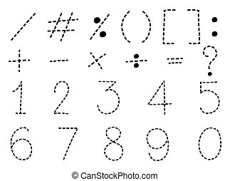 Number one to zero and math signs