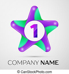 Number one vector logo symbol in the colorful star on grey background. Vector template for your design