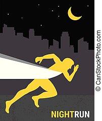 number one winner at a finish line. poster design template. night run marathon