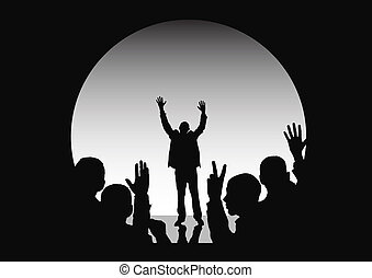 Number One! - winner on stage, other people in shadow (black...