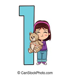 number one with cartoon girl with teddy bear icon, colorful design