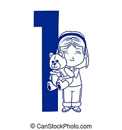 number one with cartoon girl with teddy bear icon, flat design