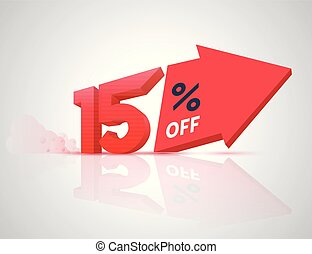 Number percent off with big arrow