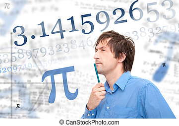 Number Pi - Portrait of a young scientist calculating Pi...