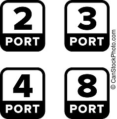 Number (quantity) of ports sign, set