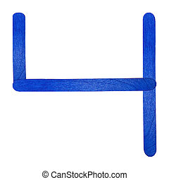 Number separated by blue wood stick