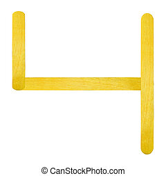 Number separated by yellow wood stick