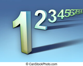 Number sequence - Numbers sequence going from one to nine....