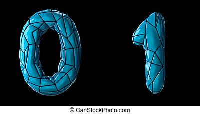 Number set 0, 1 made of blue color plastic.