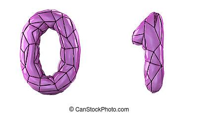 Number set 0, 1 made of pink color plastic.