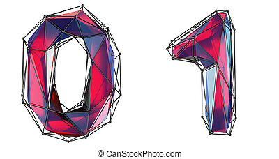 Number set 0, 1 made of red color glass.