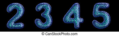 Number set 2, 3, 4, 5 made of blue plastic 3d rendering - ...