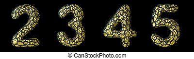 Number set 2, 3, 4, 5 made of realistic 3d render golden shining metallic.