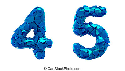 Number set 4, 5 made of 3d render plastic shards blue color...