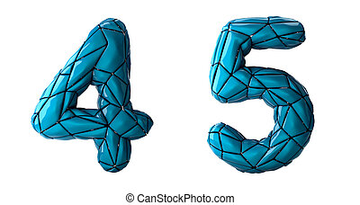 Number set 4, 5 made of blue color plastic. Collection ...