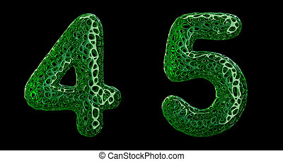 Number set 4, 5 made of green plastic 3d rendering - Number ...