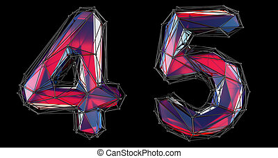 Number set 4, 5 made of red color glass. Collection symbols ...