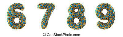 Number set 6, 7, 8, 9 made of realistic 3d render golden shining metallic.