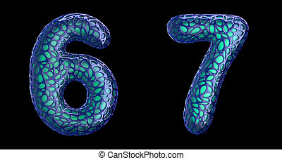 Number set 6, 7 made of blue plastic 3d rendering