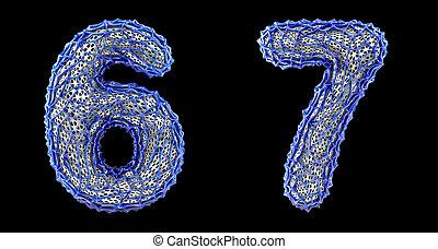 Number set 6, 7 made of blue plastic 3d rendering