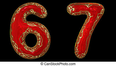 Number set 6, 7 made of realistic 3d render golden shining metallic. Collection of gold shining metallic with red color plastic symbol
