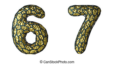 Number set 6, 7 made of realistic 3d render golden shining metallic.