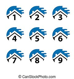 Number set button with blue house, icon set. Flat design