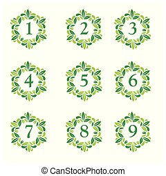 Number set button with leaf icon. Flat design