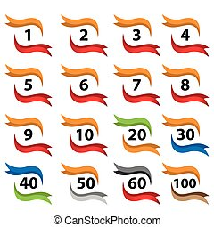 Number set button with ribbon, icon set. flat designs
