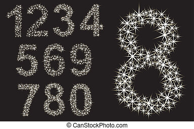 Number set, from 1 to 9, vector illustration
