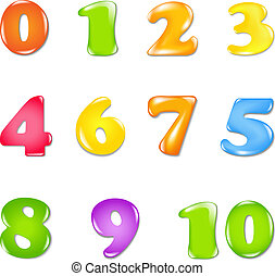 Number Set, Isolated On White Background, Vector...