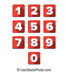 Number set square red