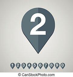 Number set vector flat design