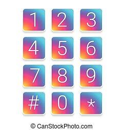 Number set vector set square colorful