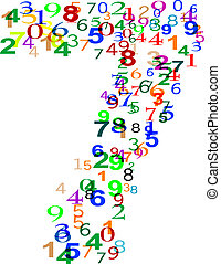 Number Seven 7 made from many colorful numbers