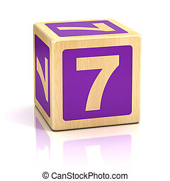 number seven 7 wooden blocks font - isolated, spell, square,...
