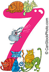 number seven and 7 cats - cartoon illustration with number...