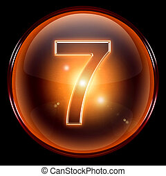 number seven icon. - number seven icon, isolated on black...