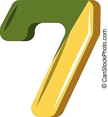 Number seven in green and yellow illustration vector on white background