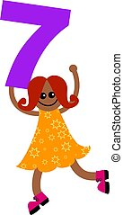 number seven kid - Happy little ethnic girl holding a giant...