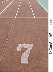 Number seven on a running track